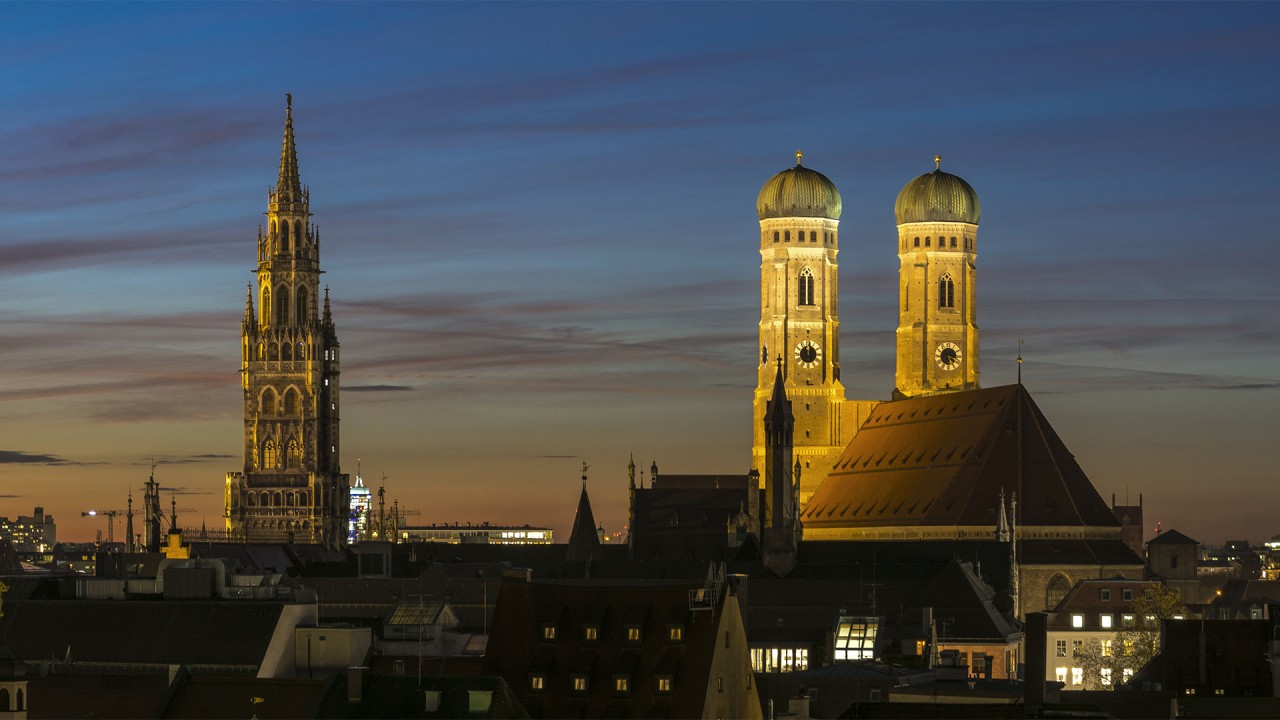 Night panoramic view of Munich's old town.