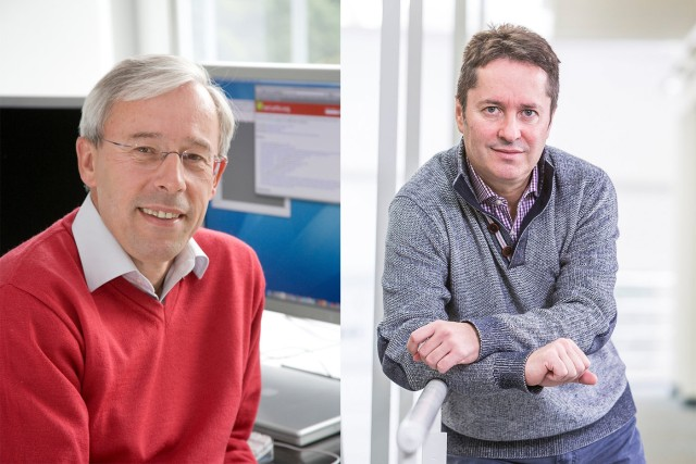 Profile pictures side-by-side of quantum pioneers Peter Zoller and Ignacio Cirac.