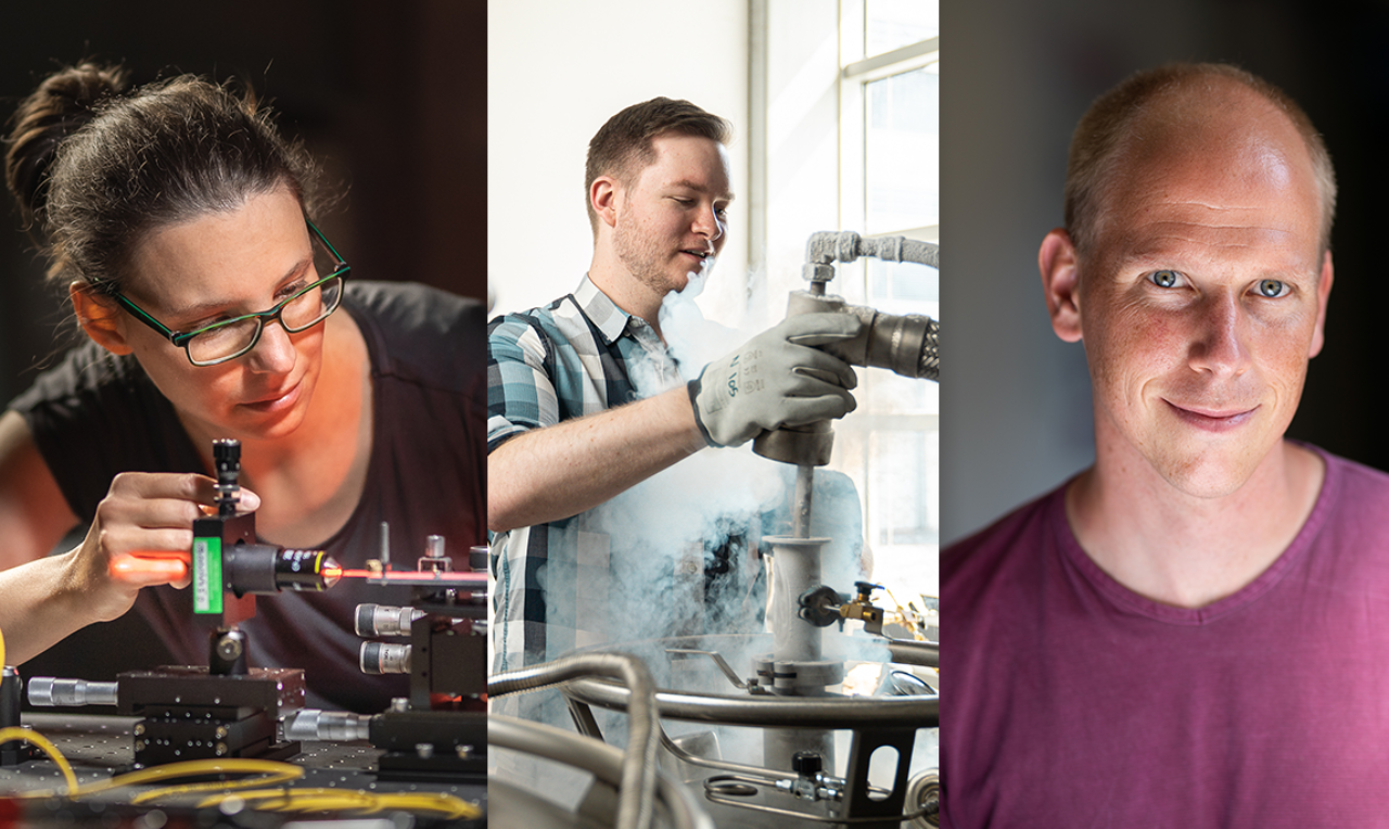 Collage of images showing three MCQST start fellows in their laboratories.