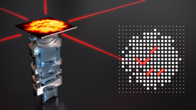 The picture shows an artistic view of the high resolution objective used in the experiment, which is looking at a single plane of atoms in an optical lattice formed by the red laser beams. The right image shows the reconstructed lattice site occupation, where the Rydberg molecules are identified as missing pairs of atoms (red).