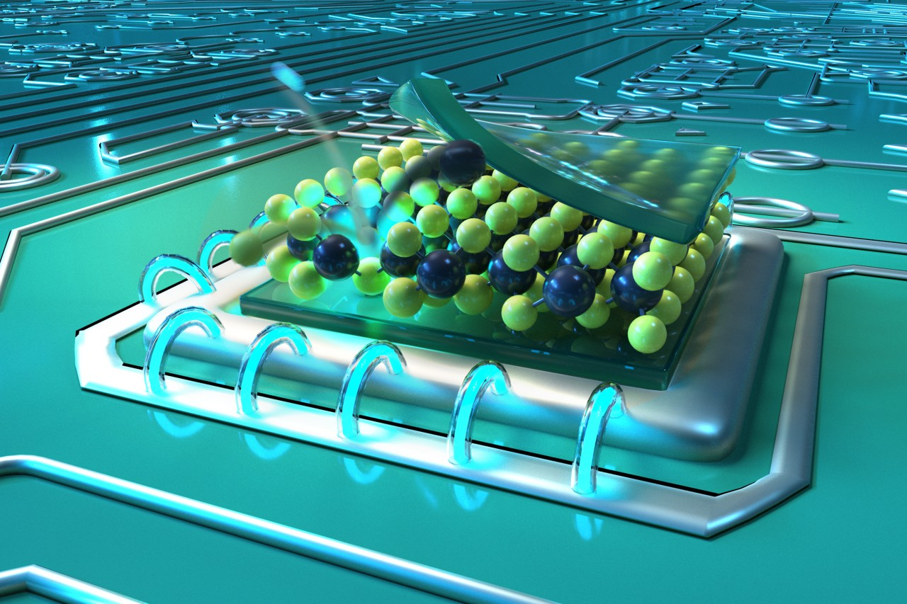 Artistic representation for defects in thin molybdenum sulfide layers, generated by bombardment with helium ions, can serve as nano-light sources for quantum technologies.